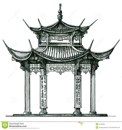Japanese Style Water Decal M378 asia temple on a white background japan china stock