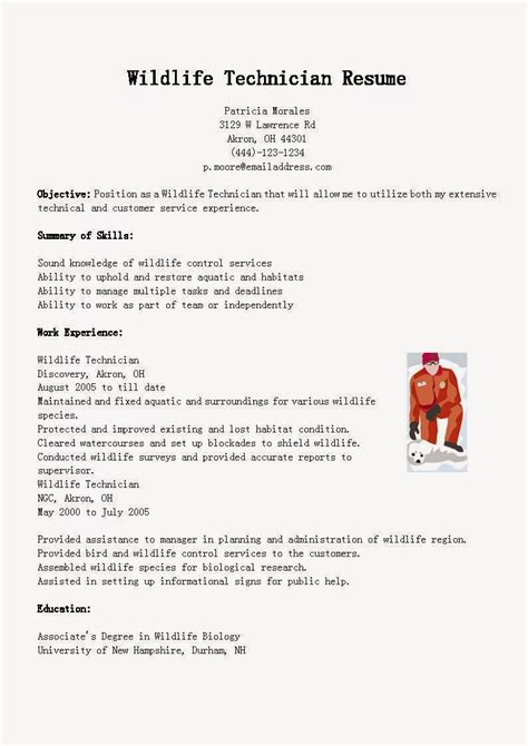 resume samples wildlife technician resume sample