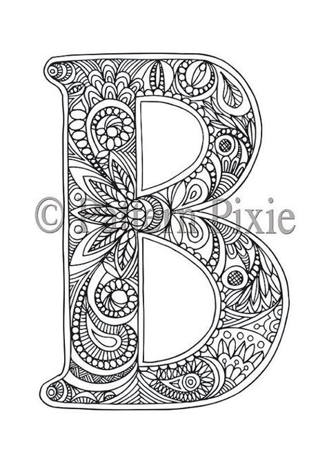 adult colouring page alphabet letter  letras