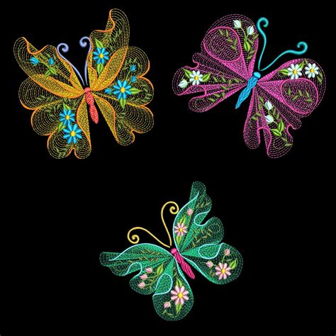 embroidery designs flutterby 2 30 machine embroidery azeb ebay