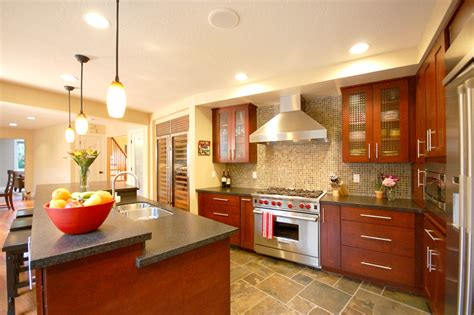 Modern Cherry Kitchen by Cherry Cabinets Kitchen Contemporary With Custom Built In