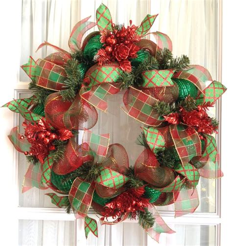 deco mesh wreath christmas slim red lime snowman holiday decor