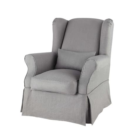 Armchair Covers by Linen Armchair Cover In Grey Cottage Maisons Du Monde