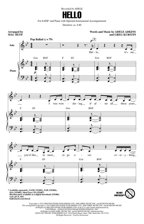 photograph arr brymer choral satb sheet by hello arr mac huff choral satb sheet by by adele