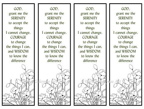 printable prayer bookmarks printable bookmarks hand drawn poppies serenity prayer