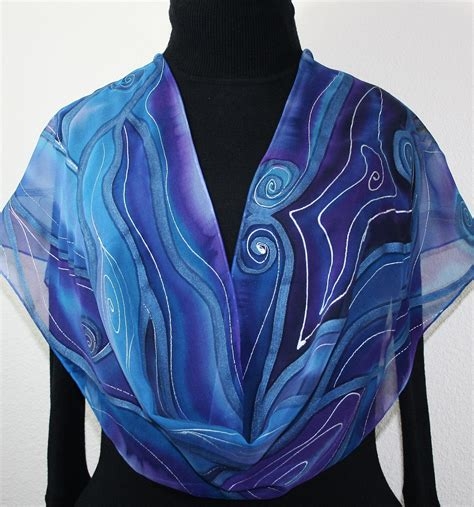 silk scarf painted silk shawl blue purple dyed scarf