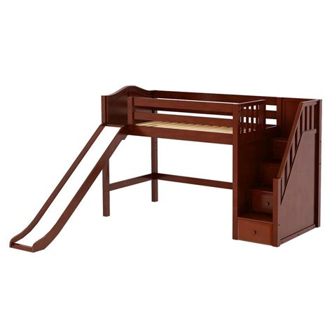 platform bed in chestnut with curved bed ends by maxtrix 200 maxtrixkids hero cc mid loft bed w staircase on end