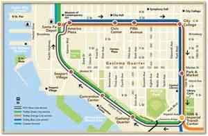 San Diego Trolley Map by Vintage Trolley San Diego Metropolitan Transit System