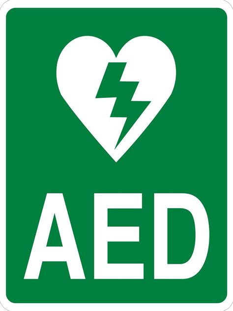 aed wall sign green vertical format phs safety