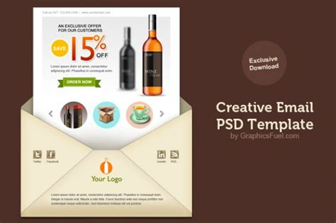 creative email newsletter psd template psd file free