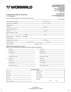 Credit Application Form Nz Selae Fill Printable Fillable Blank Pdffiller