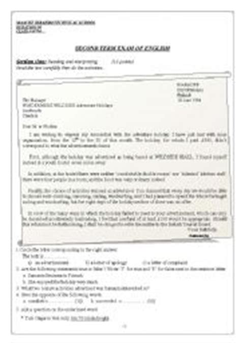 Complaint Letter Travel Company Teaching Worksheets A Letter Of Complaint