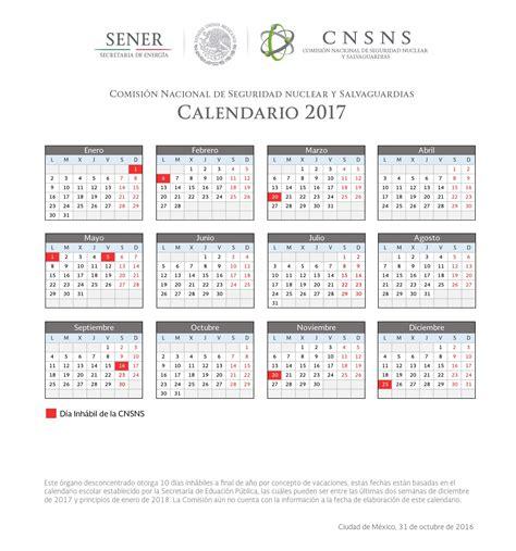 Año Calendario 2017 Calendario De D 237 As Inh 225 Biles 2017 Comisi 243 N Nacional De