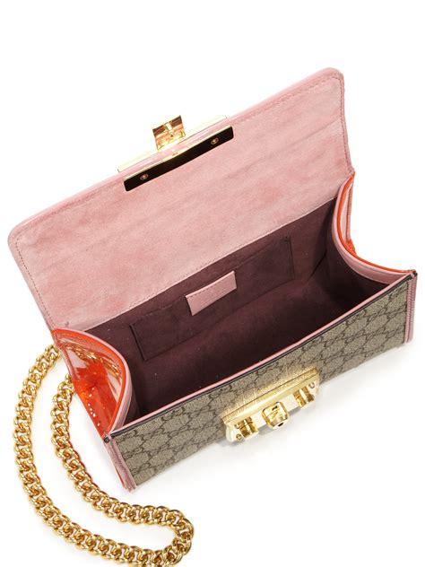 New Gucci Padlock Gg Supreme 6603 gucci padlock gg supreme small shoulder bag in pink lyst