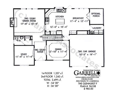 glenhurst floor plan glenhurst f house plan house plans by garrell associates