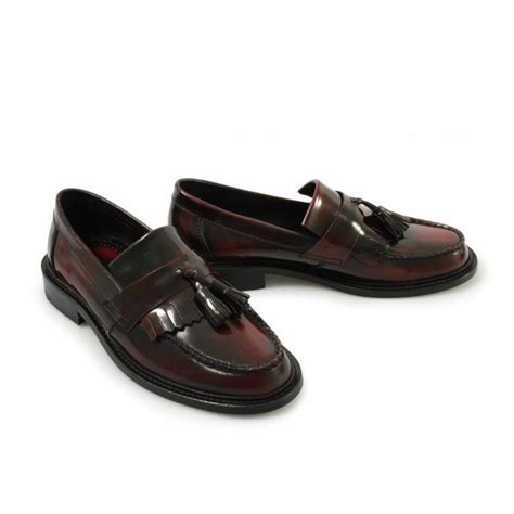mens leather tassel loafers ikon selecta mod tassel loafers oxblood free uk delivery