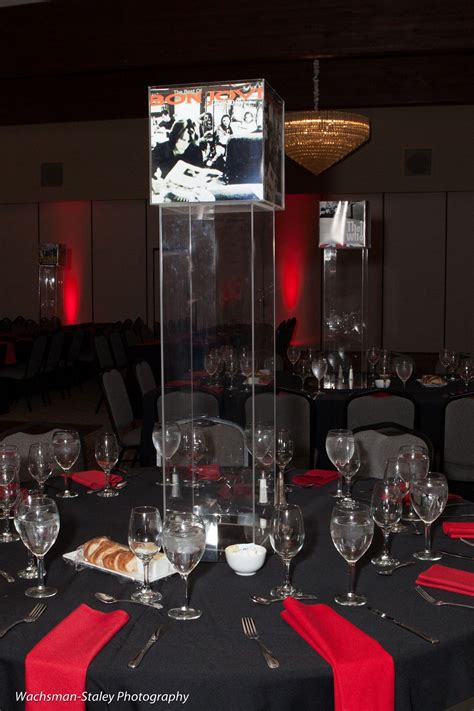 rock themed events tall acrylic centerpieces music theme rock n roll