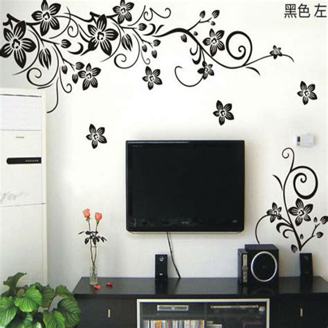 living room decals vine wall stickers flower wall decal removable pvc home decor living room floral wall