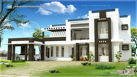 3400 sq ft flat roof house exterior kerala home design