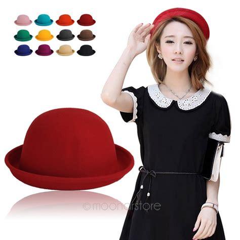 fashion colourful s solid felt bowler derby woolen