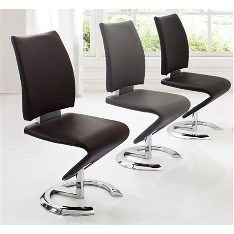 Z Dining Chairs Nesta Modern Z Shape Dining Chair In Grey Faux Leather