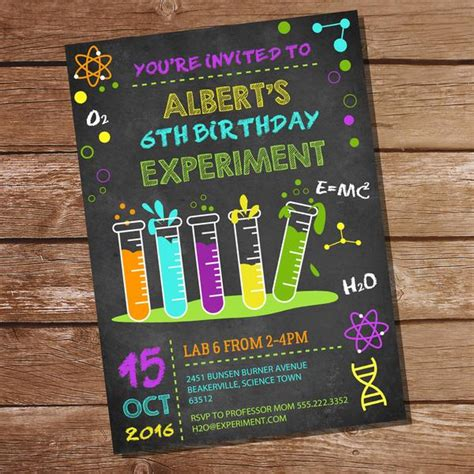 Science Experiment Party Decorations Set Mad Scientist Party Sunshine Parties Free Science Birthday Invitation Templates