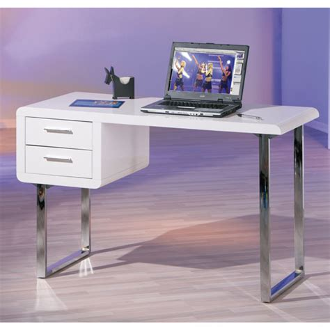 Carlo Computer Desk In High Gloss White With Chrome Legs High Gloss Computer Desk