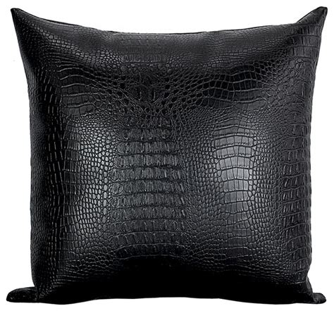 Black Throw Pillow by Croc Faux Leather Throw Pillow Black Modern Decorative
