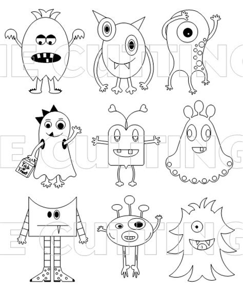 love monster coloring pages the cutting cafe a bunch of monsters printable stamp set