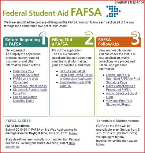 printable version of fafsa application college planner for students 2010 printable trials ireland