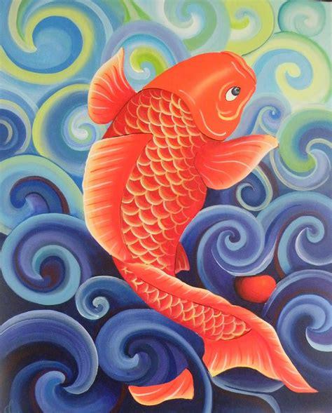 acrylic painting fish 2 artistas acrylic on canvas for sale