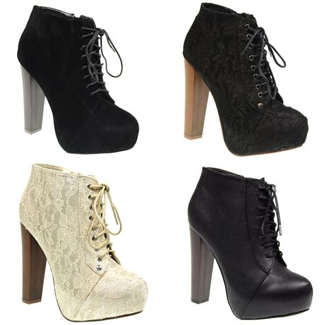 high heel lace boots womens lace up concealed platform high