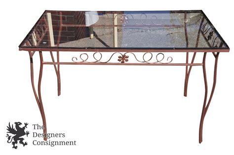 Wrought Iron Patio Table Set Vintage Wrought Iron Bronzed Patio Set Table Four Chairs Glass Top Floral Accent Last Reviews