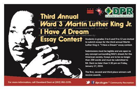 Martin Luther King Jr Essay Contest Winners by Third Annual Ward 3 Martin Luther King Jr I A Essay Contest Macomb Recreation