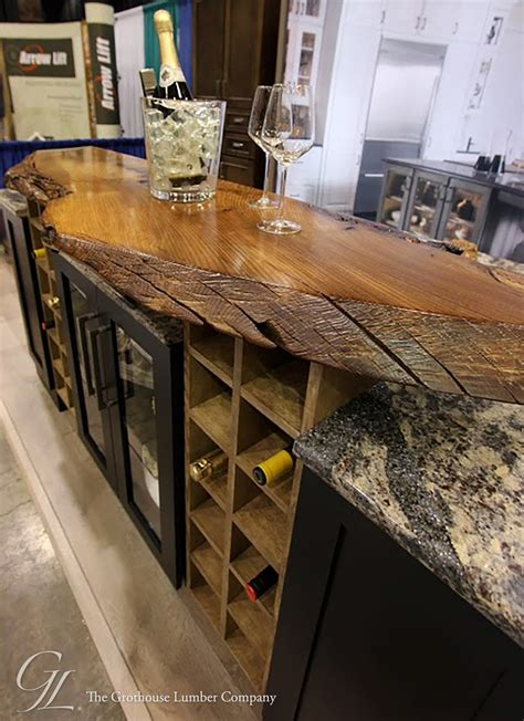 Black Butcher Block Kitchen Island live edge wood countertop of english wych elm in medina ohio