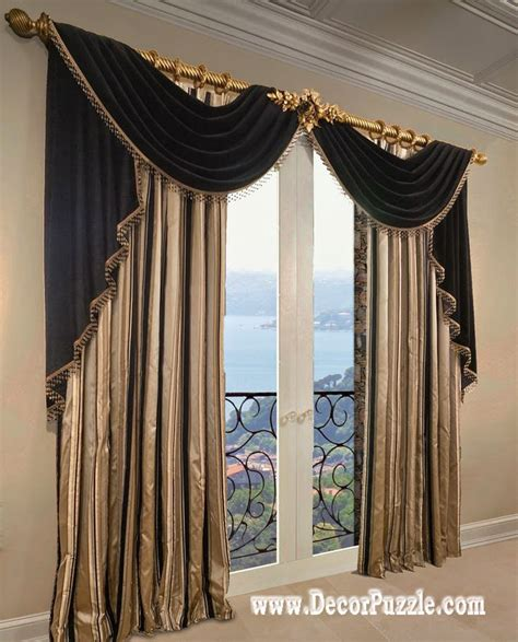 top of curtain called french curtains ideas modern luxury curtains black scarf