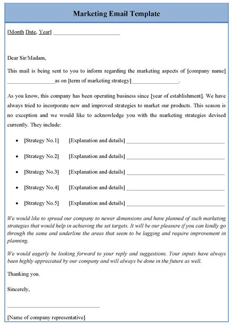 marketing email template sle templates
