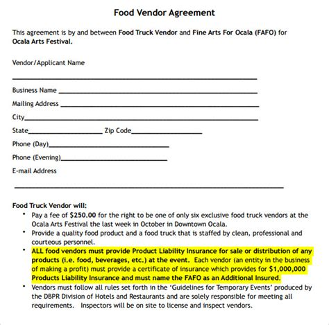 event vendor agreement template sle vendor contract template 10 free sles