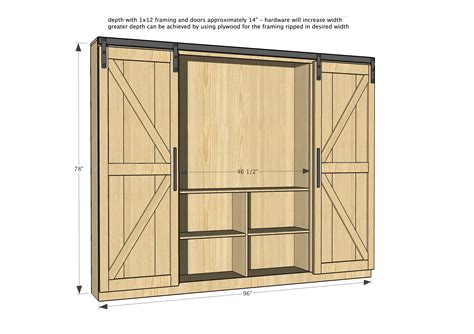 Diy Sliding Barn Door Plans White Sliding Door Cabinet For Tv Diy Projects
