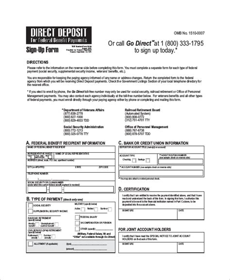 template direct deposit form template support child for card credit