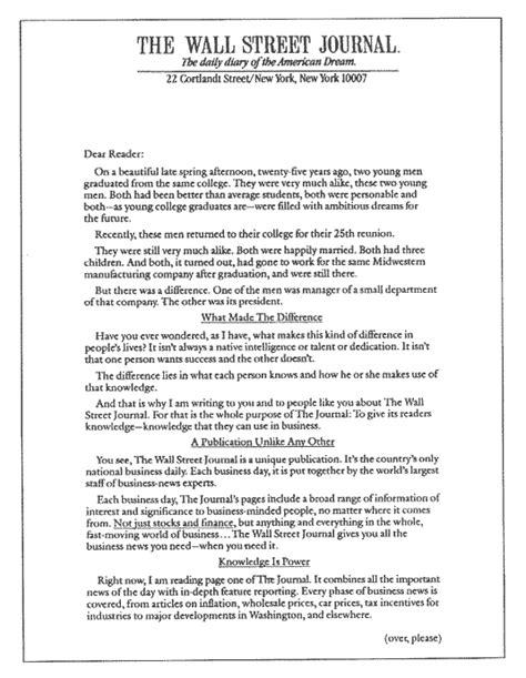 copywriting wall street journal letter