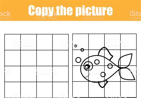 Grid Copy Worksheet Educational Children Game Printable Kids Activity Sheet With Fish Copy The Drawing Activity Sheets