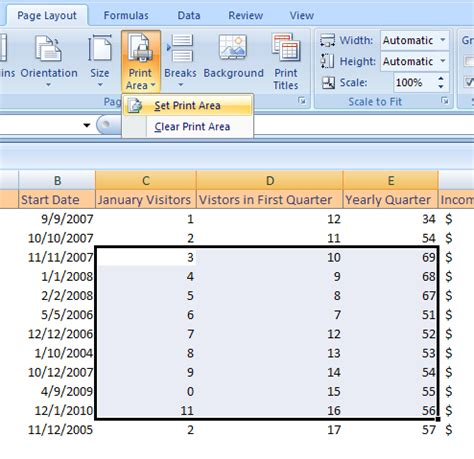 adjust printable area excel set the print area print 171 workbook worksheet