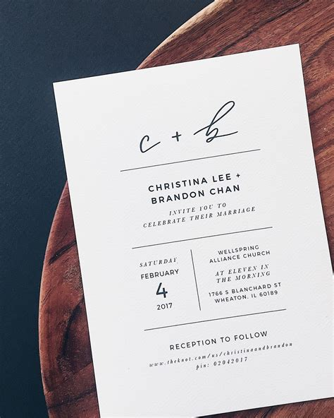 custom graphic design wedding invitations minimalist black and white lettered wedding