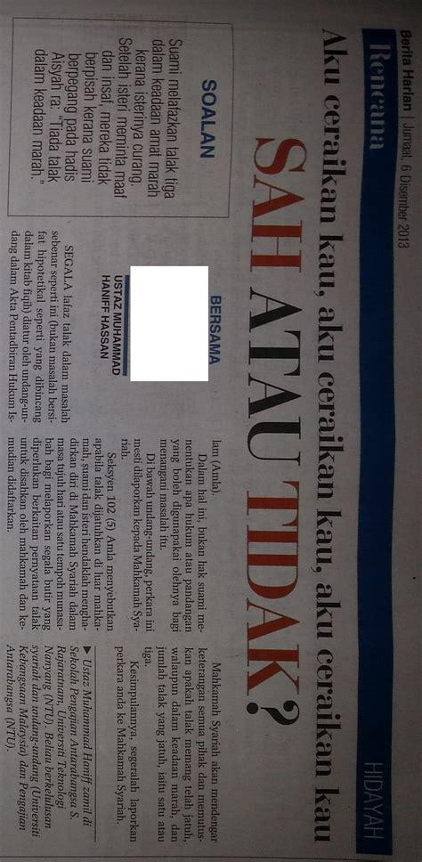 berita harian singapura kemusykilan agama talak 3 kerana marah berita harian