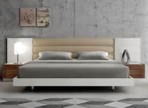 Lisbon modern platform bed with upholstered headboard