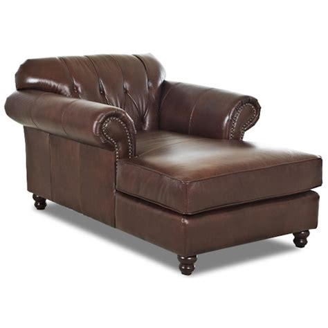 traditional chaise klaussner flynn traditional chaise with button tufted back