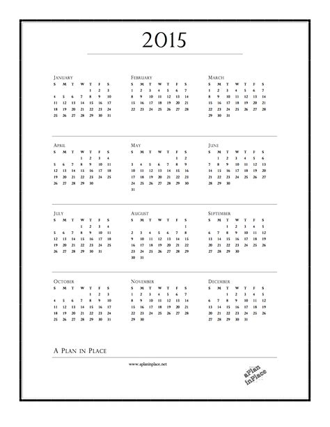 printable calendar at a glance 2015 year at a glance