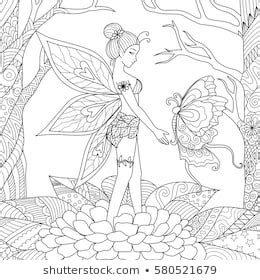 fairies coloring pages images stock  vectors