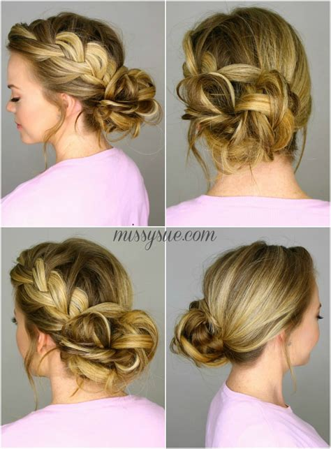 hair braided up into a bun style french braid into messy bun